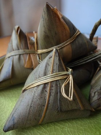 Zongzi wrapped in bamboo leaves